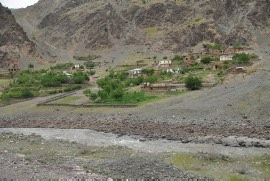 Afghan village along the Panj river
