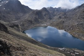 Gosainkunda lake with tea houses at 4380m
