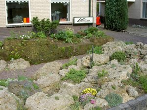 part of front garden (tufa & peat block wall)