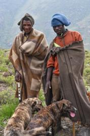 Lesotho herdsmen with traditional Basotho blanket